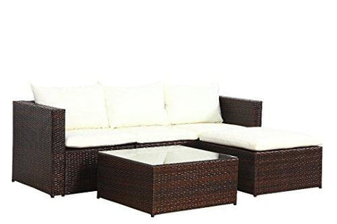 Poly Rattan Outdoor Garden Furniture Set Brown Black Malaga Cushion Patio Lounge (Brown)