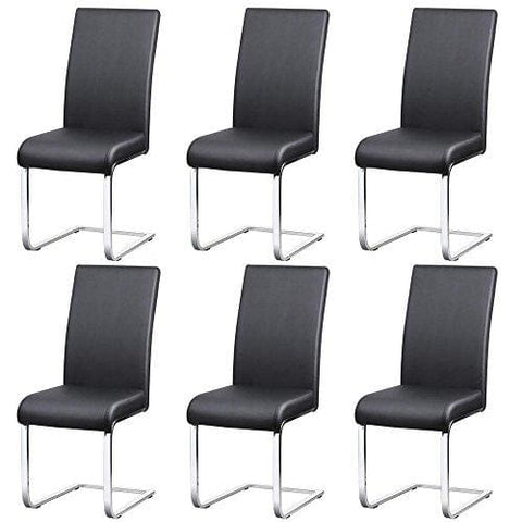 Popamazing Stylish Black Durable Faux Leather Dining Chairs With High Back And Metal Legs Kitchen (Set Of 6)