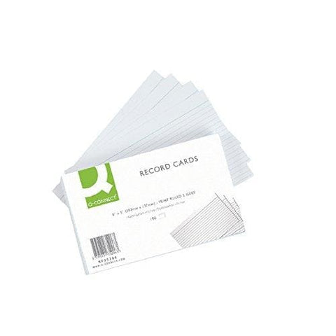 Q-Connect Ruled Feint Record Card 8 X 5 Inches - White Pack Of 100