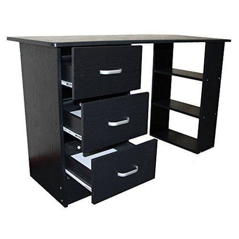 Redstone Black Computer Desk - 3 Drawers + 3 Shelves - Home Office Table Workstation