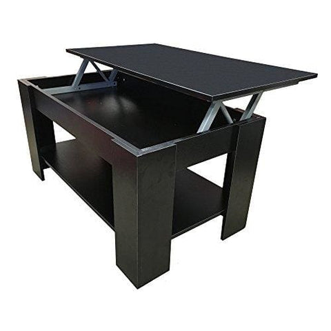 Redstone Coffee Table - Black Or Dark Walnut- Lift Up Top With Storage (Black)