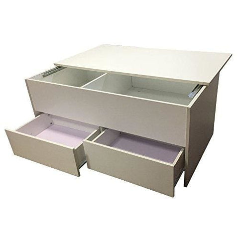 Coffee Table With Sliding Top Storage.Redstone Slide Top Coffee Table With Storage Drawers Black Or White