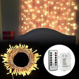 [Remote And Timer] 100 Led Outdoor Battery Fairy Lights (8 Modes Dimmable Ip65 Waterproof Warm White)