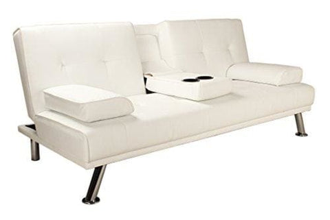 Riana Modern White Faux Leather Click Clack Sofa Bed Settee Spare Living Room Bedroom