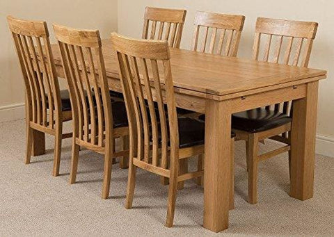 Richmond Large Extending Solid Oak Dining Table With 6 Solid Oak Leather Chairs 100% Solid Oak | 200Cm - 280Cm Extending | Fast & Free!
