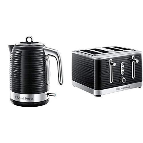 Russell Hobbs 24361 Inspire Electric Kettle 3000 W 1.7 Liters Black With Chrome Accents With 4 Slice Toaster