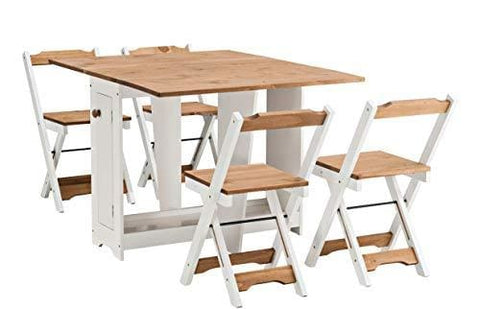 Santos Butterfly Dining Set With 4 Folding Chairs (Pine & White)
