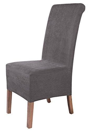 Scheffler Home Leon Suede Chair Covers For Dining Room 2 Pcs Stretch Chaircover Bi Elastic Slipcover Cover With Elastic Band Universal Fitting