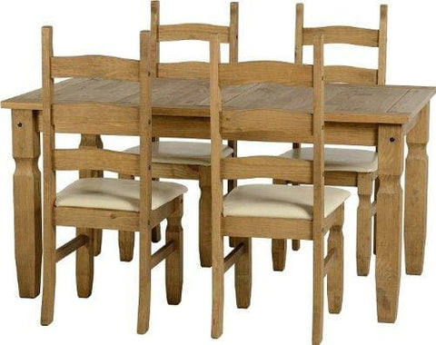 Seconique Corona 5 Feet Dining Set With 4 Corona Chairs With Cream Seat Pads - Distressed Waxed Pine/cream Faux Leather