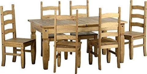 Seconique Corona Extending Dining Set With 6 Corona Chairs - Distressed Waxed Pine