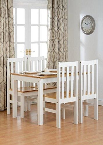 Seconique Ludlow Dining Set - White And Oak - Dining Table And 4 Slatted Highback Chairs