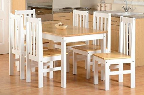 Seconique Ludlow Large Dining Set - White And Oak - Dining Table And 6 Slatted Highback Chairs