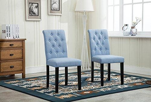 Set Of 2 Lined Fabric Dining Chairs With Solid Wooden Legs For Home Commercial Restaurants Brown Blue Red Grey Blue