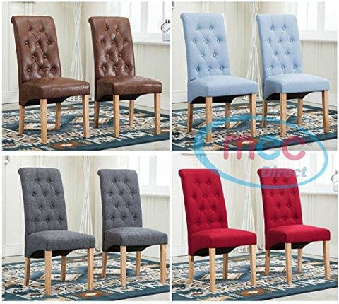 Set Of 2 Linen Fabric Dining Chairs Roll Top Scroll High Back For Home & Commercial Restaurants [Brown* Grey* Red* Blue*] (Brown)