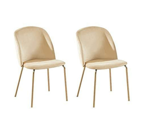Set Of 2 Velvet Dining Chairs With Golden Finish Metal Legs Living Room Chair Dale (Beige)
