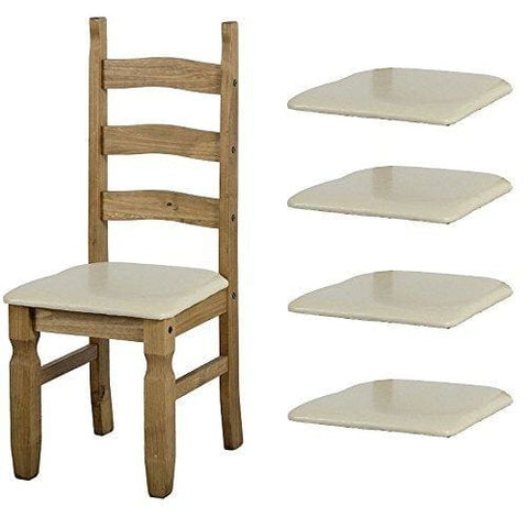 Set Of 4 Cream Faux Leather Seat Pads For Corona Dining Chairs