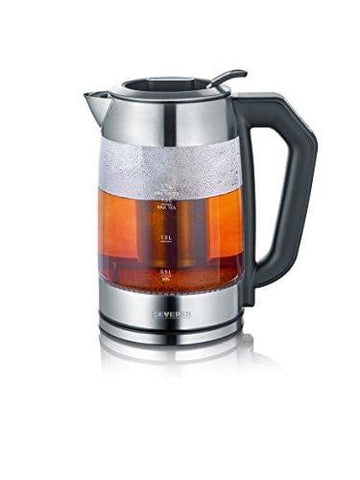 Severin Wk 3477 Digital Glass Tea And Water Kettle With Adjustable Temperature Settings 2200 W 1.7 Liters Glass/brushed Stainless