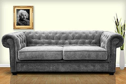 Sofa Bed Venus 3 Seater 2 Seater Grey Velour Fabric Settee Chesterfield Style With Buttons (3Seater Grey)