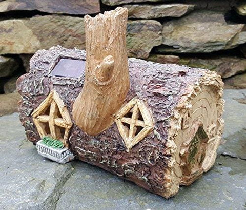 Solar Powered Outdoor Decorative Garden Ornament Fairy House Colour Changing Log Home (Lights Up At Dusk)