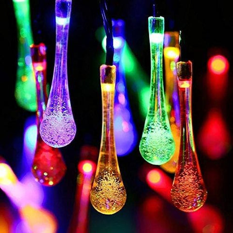 Solar String Lights Water Drop Outdoor 40 Led Fairy Lights Waterproof Garden Fence Christmas Tree Home Holiday House Yard Wedding Party