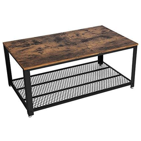 Songmics Coffee Table Side Table Cocktail Table Industrial Style With Metal Frame With Storage Shelf For Living Room Vintage Lct61X