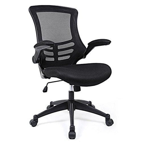 Songmics Mesh Office Computer Chair Swivel Chair Black With Foldable Armrest Black Obn81Buk