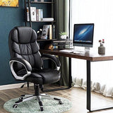Songmics Office Chair With 76 Cm High Back Large Seat And Tilt Function Executive Swivel Computer Chair Pu Black Obg24Buk