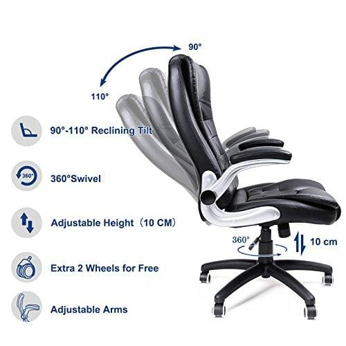 Songmics Office Swivel Chair With 76 Cm High Back Large Seat And