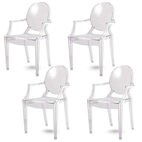Spirit Dining Chair Set Of 4 | Design Chair With Armrests | Modern Design | Cristal Clear Material | Kristal Clear - Damiware (Clear)