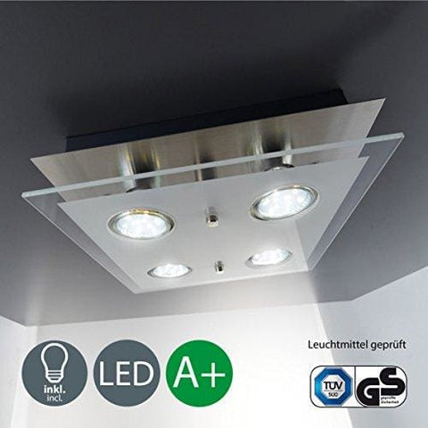 Square Ceiling Light I Led Ceiling Light I Eco-Friendly Lighting I Led Glass Lamp I 4 X 3 W 250 Lumen I Kitchen Led Iight I Classic Finish I