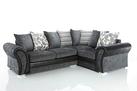 Starlet Leather And Fabric Right Hand Corner Sofa - Charcoal