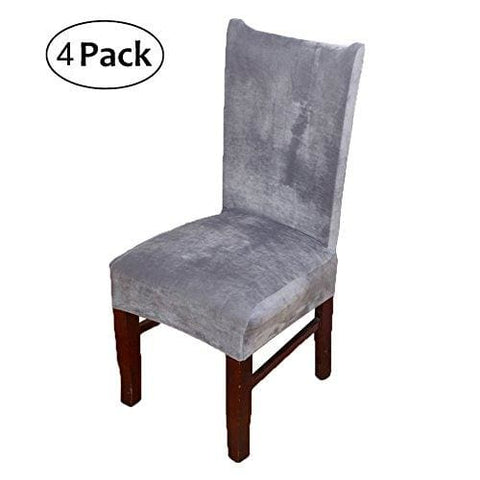 Stretch Chair Covers For Dining Room Silver Grey Set Of 4 Velvet Dining Chair Slipcovers