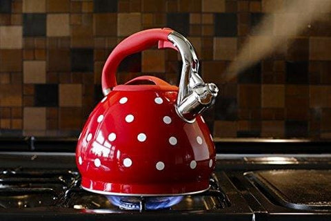 Stunning Red With White Polka Dot Whistling Kettle 3.5L