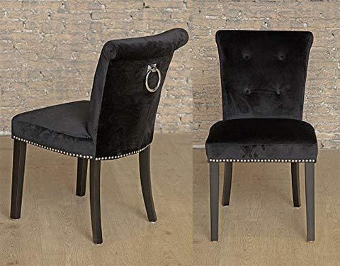 Sue Ryder Pair Of Black Button Back Velvet Upholstered Dining Chairs Chrome Back Ring Knocker And Studs Black Legs