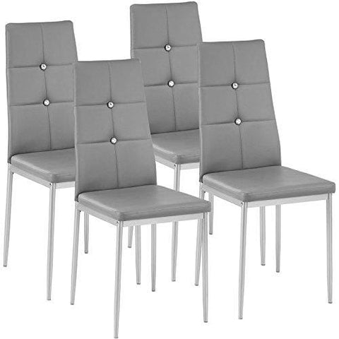 Tectake Set Of 4 Dining Chairs 40X42X97Cm | Different Colours And Quantities - (4X Grey | No. 402546)