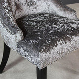 The Furniture Market Luxury Silver Velvet Scoop Back Dining Chair Black Legs