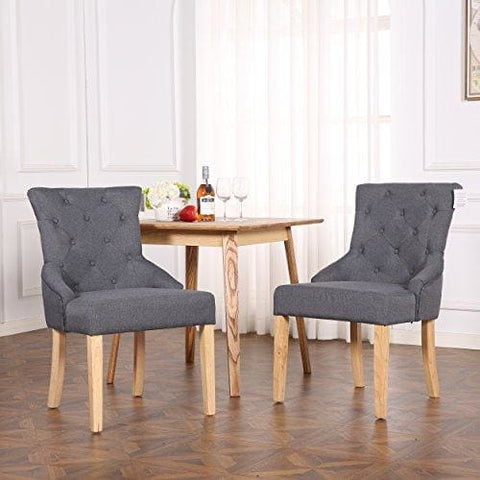 The Home Garden Store Set Of 2 Premium Linen Fabric Dining Chairs Scoop Button Back Dark Grey