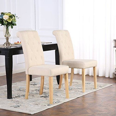 The Home Garden Store Set Of 4 Premium Linen Fabric Dining Chairs Scroll High Back Cream