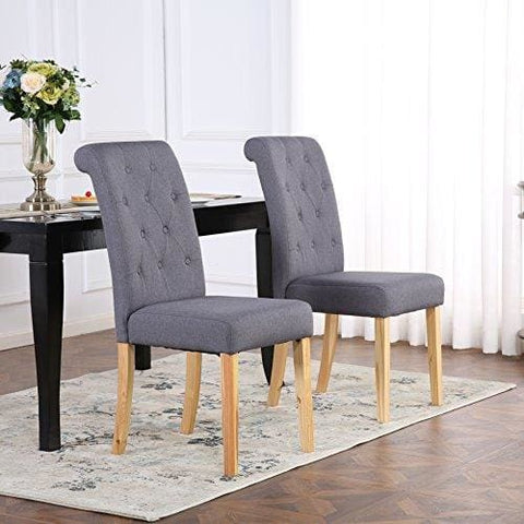 The Home Garden Store Set Of 4 Premium Linen Fabric Dining Chairs Scroll High Back Dark Grey