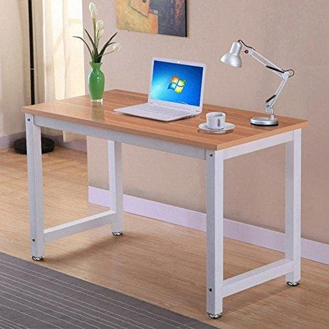 Tinkertonk Modern Brown Wood Computer Desk Home Office Metal Frame Laptop Table Pc Workstation