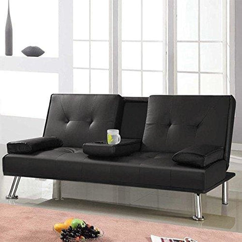Tinkertonk Modern Extra Comfort 3 Seater Faux Leather Sofa Bed Black