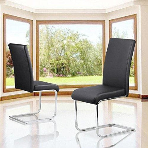 Tinxs Set Of 2 Stylish Black Durable Faux Leather Dining Chair Chrome Legs High Back Kitchen & Dining Room Furniture