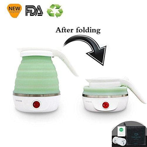 Tq@- Travel/home Foldable Electric Kettle - Dual Voltage - Food Grade Silicone - Collapses For Easy & Convenient Storage - Boil Dry