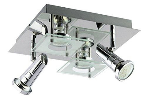 Trango In 4-Bulb Led Ceiling Light Square Bathroom Tg3089 Includes 4 X Gu10 Led Bulb Spotlight Direct 230 V