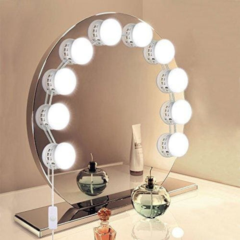 Unifun Vanity Mirror Lights Hollywood Style Usb Powered Makeup Mirror Led Lights With 10 Dimmable Light Bulbs Flexible Lighting Fixture