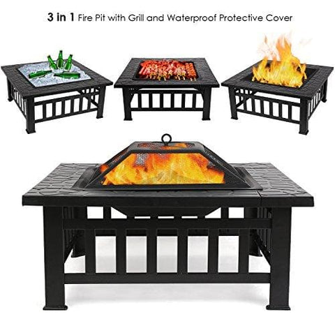[Upgraded] Femor Large 3 In 1 Fire Pit With Bbq Grill Shelf Outdoor Metal Brazier Square Table Firepit Garden Patio Heater/bbq/ice Pit With