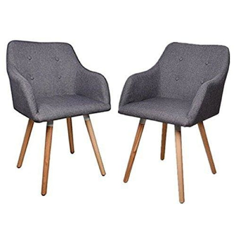 [Upgraded Style] Set Of 2 Fabric Dining Chairs Retro Armchair Leisure Chairs Padded Seat With Oak Legs (Grey)