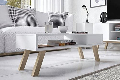 Vero Wood - Coffee Table / Small Table / Living Room Table In Scandinavian Style (80 Cm) (White)