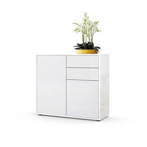 Vladon Cabinet Chest Drawers Ben Carcass In White High Gloss/front In White High Gloss