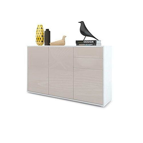 Vladon Cabinet Chest Drawers Ben V3 Carcass In White Matt/front In Sand Grey High Gloss